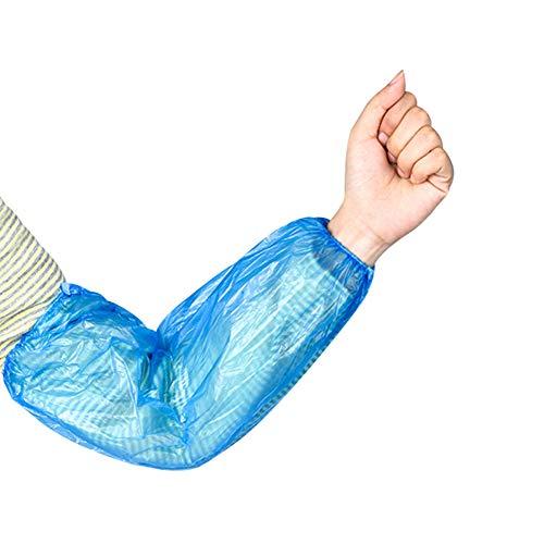 100 Pack Disposable Arm Sleeves Covers Waterproof Plastic Oversleeve Protectors with Elastic Blue 16'