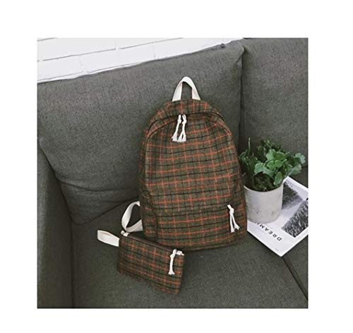 Angle-w Design Elegante, Viaggio Semplice, 2Set Plaid Pattern Backpack Donne Donne Borsa a Tracolla Nuovo Adolescente Girl School Backpack Scaffi Andiamo Oltre (Color : Brown 2set, Size : XL)