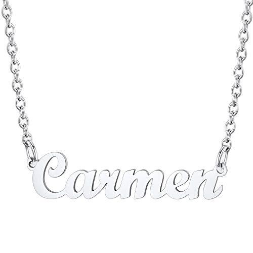 Carmen Collar Nombre Personalizado para Amigas Colgante Dudadero Acero Inoxidable Cadena Ajustable Rolo Joyería de Moda para Mujeres