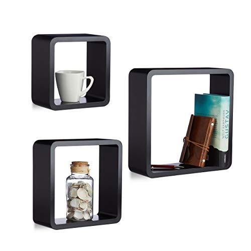Relaxdays Cube Hangkast, set van 3, wandplank, vrij zwevend, wandplank, hout, vierkant, smal, MDF, kubus, zwart