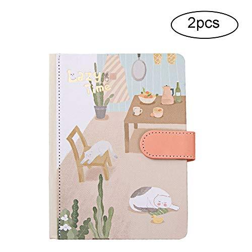 LKIHAH Hardcover Notizbuch, 36 K niedliches Tagebuch, Hardcover, Notizblock, Studenten-Schreibwaren, geeignet für Geschenk und persönlichen Gebrauch, 2 Stück
