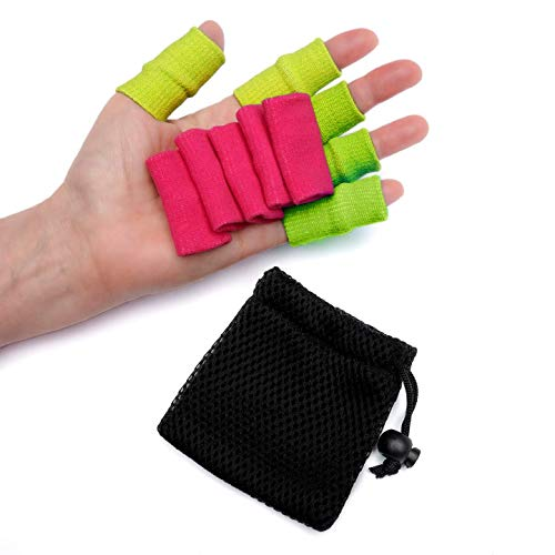 ARTHRITISTORE Thumb Finger Sleeves - Support Sleeve X 10 with Small Washable Bag, Protector Cushion Wraps, Compression for Arthritis, Basketball Finger Guard - Green & Pink