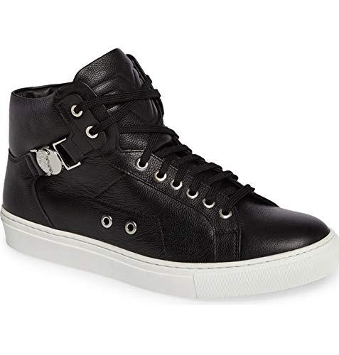 Versace Collection Herren Sneakers - Hohe Schuhe mit seitlichem Medaillon - MOD. EK71 - Erhältlich in Weiß oder Schwarz (45 EU, Schwarz)