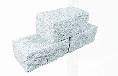 Splittprofi Trockenmauerstein Premium Granit hellgrau 15x20x35cm gestockt (10)