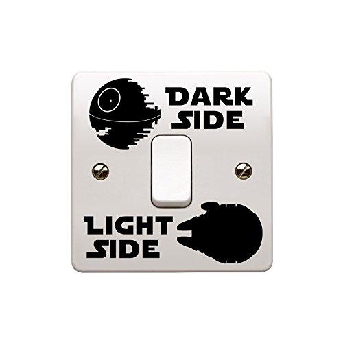"""Star Wars inspiriert """"Death Star/Millennium Falcon"""" Dunkle Seite/Seite Licht Schalter Vinyl Wand Aufkleber Aufkleber Kids (schwarz) # 2PRO Cut Grafik"""