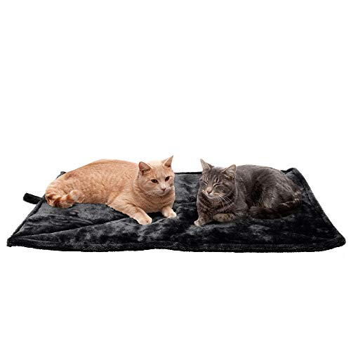 Furhaven Pet Dog Bed Heating Pad - ThermaNAP Quilted Faux Fur Insulated Thermal Self-Warming Pet Bed Pad for Dogs and Cats, Black, Large