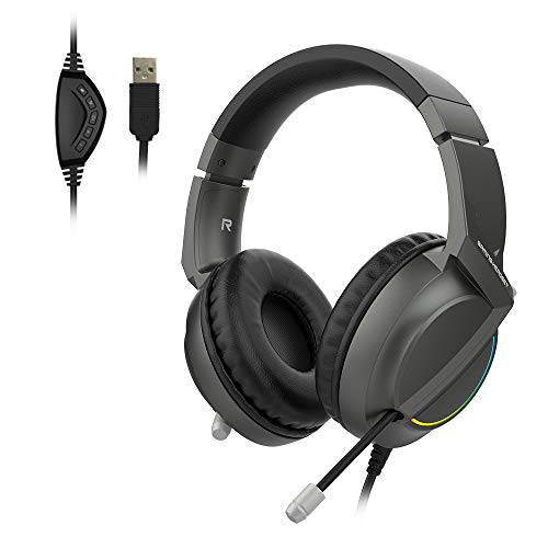 NACODEX AX365 USB Gaming Headset with 7.1 Stereo Surround Sound & LED Light, Retractable Noise Canceling Microphone, Over Ear Headphones with Comfortable Earmuffs for PC Laptop (Black)