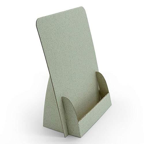 Supporto pieghevole per fiori 'carta erba' in cartone erba, riciclabile, salvaspazio, estremamente sostenibile, (supporto per volantini in carta A5 14,8 x 21 cm)