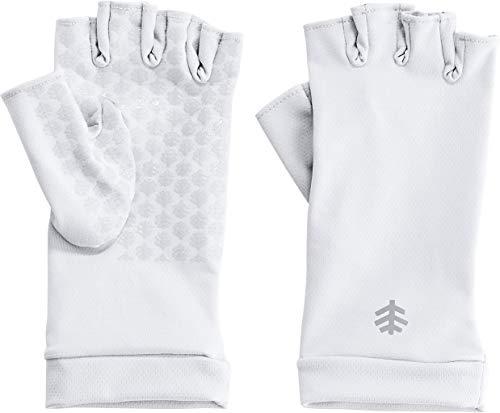 Coolibar UPF 50+ Men's Women's Ouray UV Fingerless Sun Gloves - Sun Protective (Small- White)
