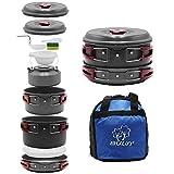 Bulin 13-pieceキャンプ調理器具Messキットアウトドアバックハイキング料理セットなど、ポット、フライパン、ケトル、Carry Bag and More