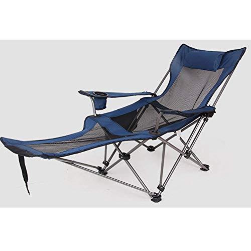 -Sillas de Camping al Aire Libre/Tumbona/Sillón reclinable Plegable/con reposapiés y portavasos/Silla de Pesca portátil, Playa Barbacoa Senderismo Jardín Inicio Picnic