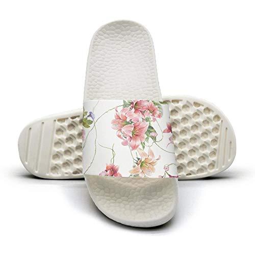 Vintage Watercolor Floral Pattern White Slides Shoes Slip on Best Fun Cheer Women