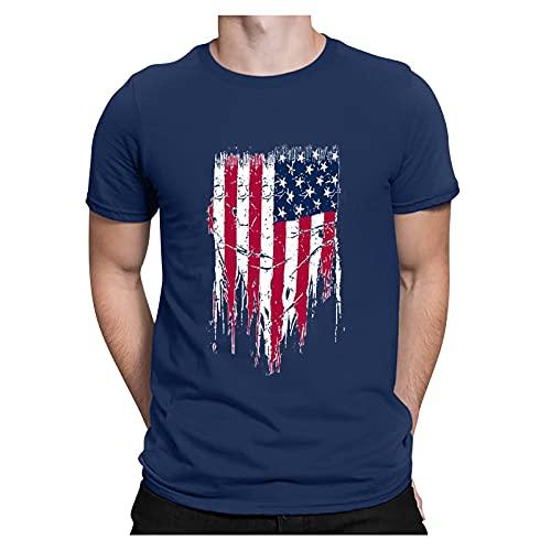 YSYOkow Camisas de manga corta para hombre del Día de la Independencia, para hombre el 4 de julio de la bandera americana, camiseta de cuello redondo con estampado casual