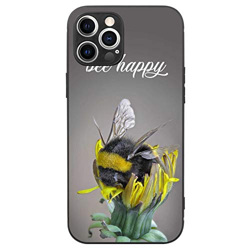 FAUNOW Matte Case for iPhone 12 Pro Max Happy Bumble Bee TPU + PC Shockproof Protective Black Case