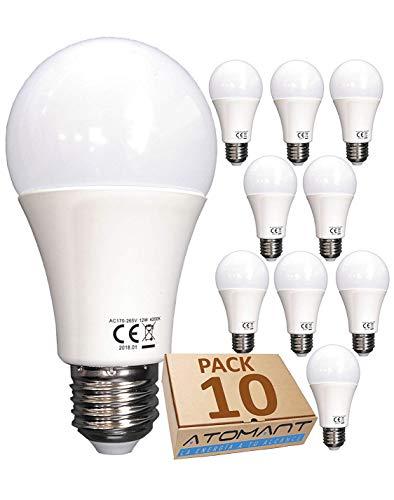 Led Atomant Lampadina LED, Bianco Neutro 4500K, 12 W, Equivalenza 120 W, non dimmerabile, 1200 lumen, confezione da 10