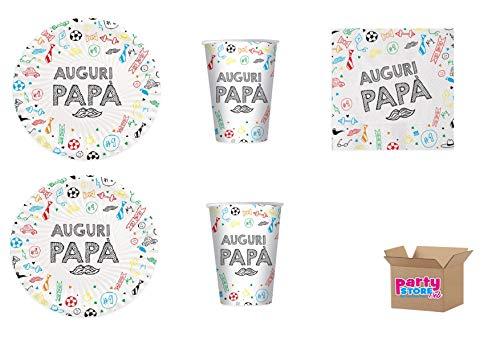 Party Store Web by Casa Sweet Casa Groet Papa placemat van papier voor Vaderdag, recyclebaar, 16 borden, 16 bekers, 20 servetten