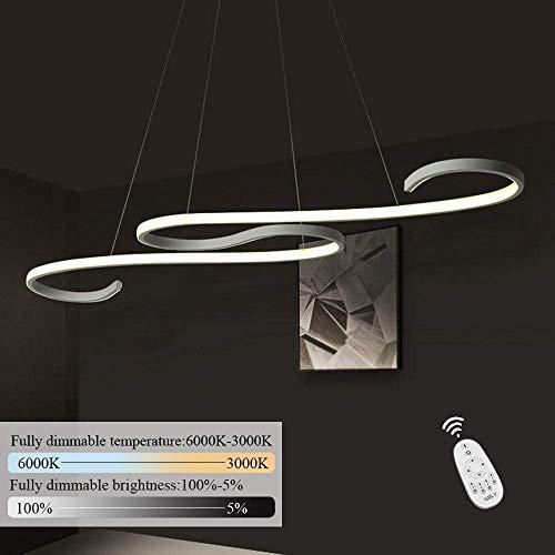 GBLY LED Pendelleuchte Esstisch 46W Dimmbar Hängeleuchte Weiß Pendellampe Modern Hängelampe Höhenverstellbar Leuchte für Büro Esszimmer Kurve Design mit Fernbedienung