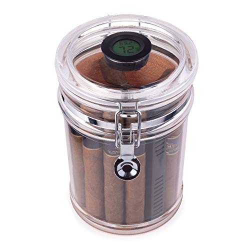 Mantello Acrylic Humidor Jar - 18-Cigar Case with Digital Hygrometer, Airtight Sealed Lid & Rectangle Humidifier for Humidity Control - Clear Container with Spanish Cedar Wood Lining