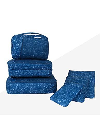 XIEJIA Caja Juego De Bolsas De Almacenamiento De Viaje De 6 Piezas Organizador De Equipaje De Poliéster para Ropa Interior De Tela Embalaje Bolsa De Bolsa De Lavandería, Azul Profundo