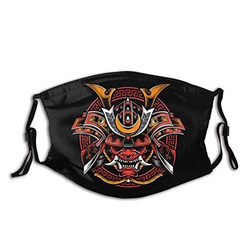 Samurai Helm Mit Oni Maske Schwarz Wiederverwendbares Bandana Waschbar Anti Staubdicht Sturmhaube Gesichtsdekorationen Winddicht Für Staub, Sport, Outdoor, Festivals