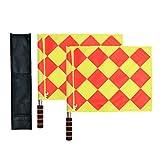 Bandiere di calcio per arbitro e guardalinee Odowalker con asta in metallo e manico di sch...