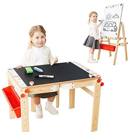 TOP BRIGHT Wooden Art Easel for Kids Art Table with Storage, Easel Desk for Toddler Adjustable