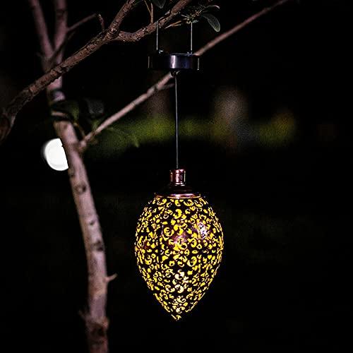 Luces solares colgantes linterna LED jardín luces impermeable lámpara decorativa de metal ahuecado patrón colgante linternas solares para porche, patio, camino, jardín y patio trasero