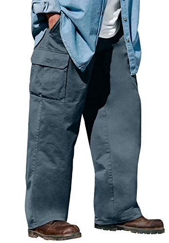 Boulder Creek by Kingsize Men's Big & Tall Renegade Side-Elastic Waist Single Pocket Cargo Pants - Tall - 46 40, Carbon