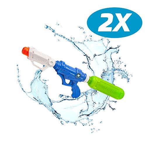 Zuru 2er Pack WASSERPISTOLE TRINKSPIEL Wasser Blaster X-Shot Tornado Tide Riesiger Tank bis zu 2 Liter - Funktioniert mit Eiswürfeln - Kann an alle PET Flaschen angeschlossen Werden