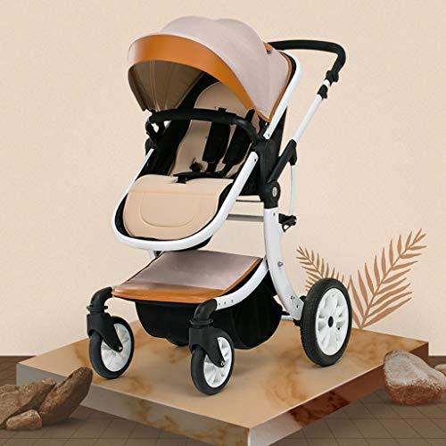 Kinderwagen, Compact Travel System Baby-Kinderwagen, Buggy Can Sit and Lie Im Winter Und Sommer Leichte BabyPram Stoß- Kinderwagen (Khaki) (Color : Khaki)