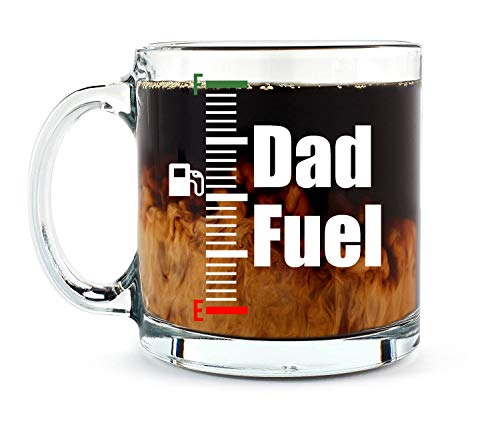 Dad Fuel Mug - 13oz Glass Coffee Mug Fathers Day Best Dad Daddy Idea for Christmas Birthday Retirement for Him from Son Wife Daugther- By AW Fashions