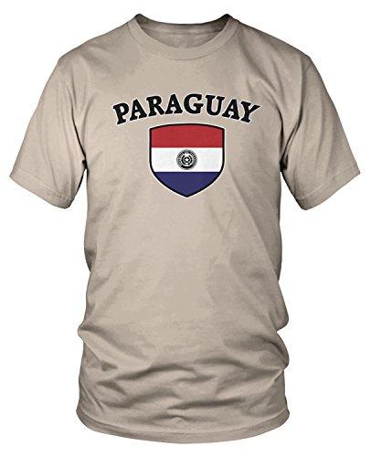 Amdesco - Camiseta para hombre, diseño de la bandera de Paraguay, color blanco y negro - Beige - Large