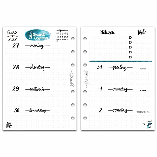 SinnWunder® Premium-Kalendereinlage 1 Woche / 2 Seiten LetteringSinn (2022 - Din A6)