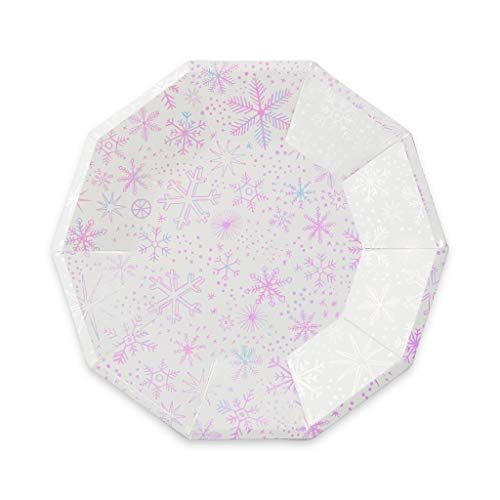 Daydream Society Frosted Iridescent Snowflake Large Paper Party Plates, Pack of 8