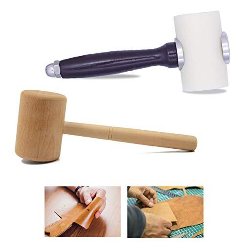 Martillo Cuero,Qiundar 2 Pedazo Martillo de Cuero de Nylon Mazo de Cuero Leather Hammer,para Tallado Corte y Punzonado