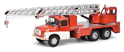 Schuco 450375700 Tatra 450375700-Tatra T148 Kranwagen, Feuerwehr, Modellauto, 1:43, rot-weiß