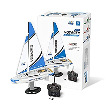 PLAYSTEAM Mini Voyager 280 RC Controlled Wind Powered Sailboat in Blue - 14  Tall