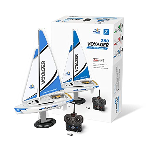 PLAYSTEAM Mini Voyager 280 RC Sailboat in Blue
