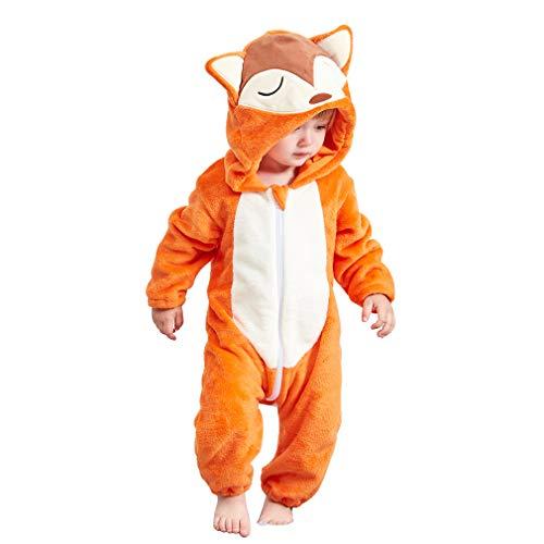 MICHLEY Baby Flanell Winter Strampler Bekleidung, Mädchen und Junge Karikatur Tier Jumpsuit Spielanzug (Gelb 90)