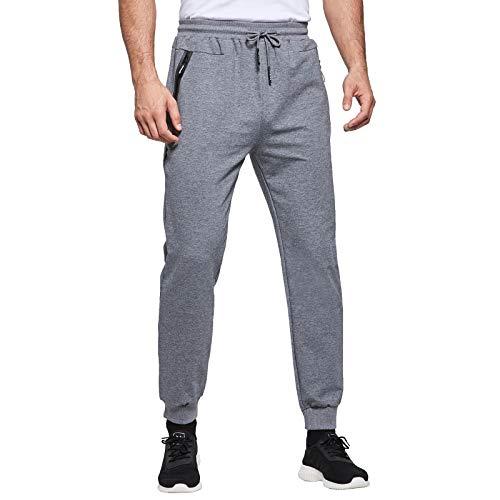 JustSun Jogginghose Herren Sporthose Trainingshose Herren Männer Baumwolle Fitness Hosen mit Reissverschluss Taschen Grau XL