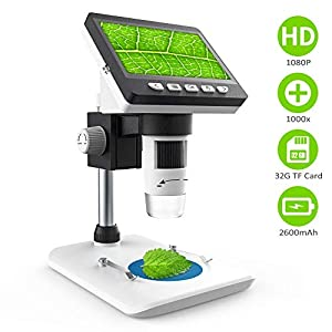 LCD Digital Microscope CrazyFire Microscope with 4.3 inch Display 1000X Magnification Zoom HD 1080P Screen Microscopes 8 Adjustable LED Light Video Microscope for Windows PC(Included 32G TF Card)