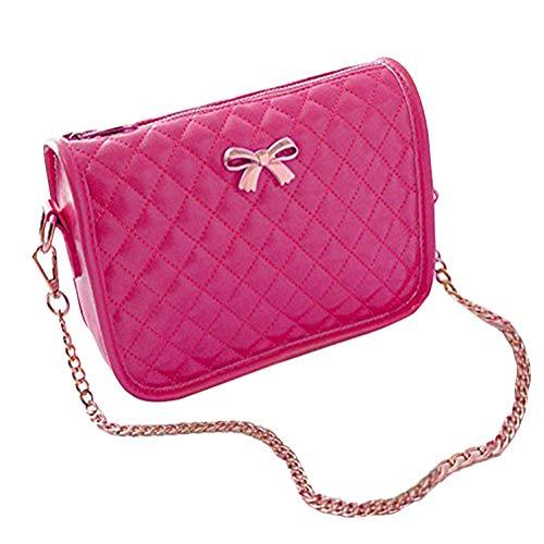 Minetom Ledertasche Damen Bowknot umhängetasche Handtasche Satchel Messenger Purse Tasche 5 Farben (Rose)
