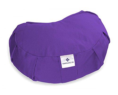 TEMPELWELT Bezug für Yogakissen Meditationskissen JANDRA Halbmond 42x30x15 cm aus Baumwolle Leinen lila violett, Kissen Hülle mit Inlet für...