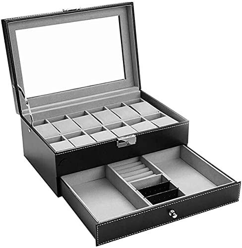 Caja de reloj con 12 ranuras para reloj para hombre, caja de almacenamiento de piel sintética, caja de almohada, caja de reloj con cerradura y cajón de cristal (color negro-1)