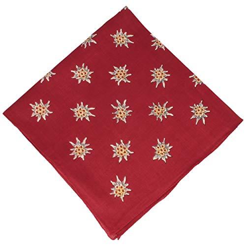 Hut Breiter Edelweiß Trachtentuch   Nickituch   Tuch aus 100% Baumwolle – 50 x 50 cm – in verschiedenen Farben (Rot)