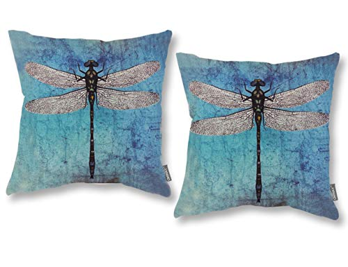 ONWAY Turquoise Dragonfly Decor 18x18 Pillow Cover Outdoor Decorative Throw Pillow Covers for Patio Furniture, Set of 2