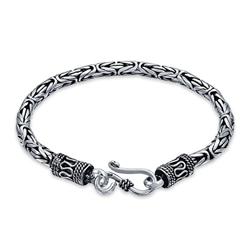Bali Byzantine Chain Link Bracelet Eye And Hook Antiqued 925 Sterling Silver For Women Men Teen Hand Crafted Made In Thailand 9 Inch