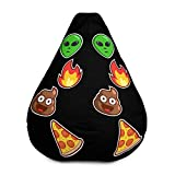 Bean Bag Chair w/Filling - Emoji Poop, Pizza, Alien, Fire Design