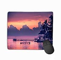 滑り止め厚ゴムラバーマウスパッド戦争船夕焼け美しい夕焼けビーチ夕焼け湖土地風景アジア