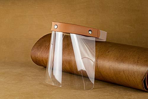 Pantalla protectora niño/adulto con tira de piel vacuna de curtición vegetal y lona elástica. Visera protección facial transparente. Protector cara. Fabricado en España. (Cuero, Adulto)